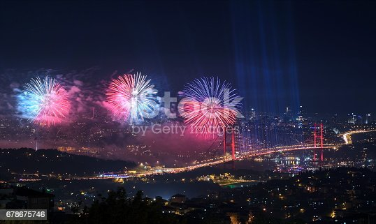 istock Fireworks in Istanbul Turkey - holiday background 678675746