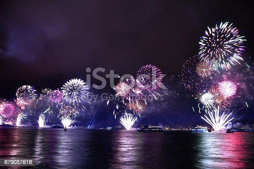 istock Fireworks in Istanbul Turkey - holiday background 679057618