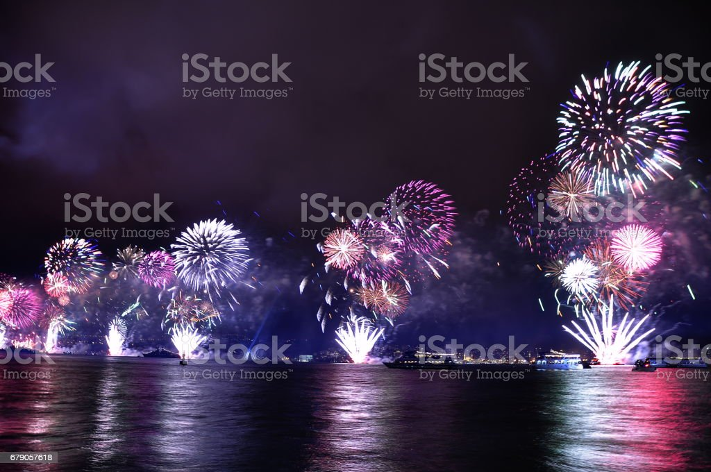Fireworks in Istanbul Turkey - holiday background stock photo