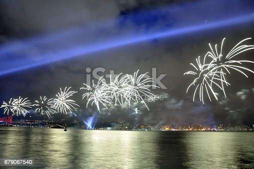 istock Fireworks in Istanbul Turkey - holiday background 679067540
