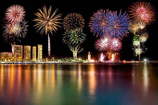 Fireworks in Malaga stock photo