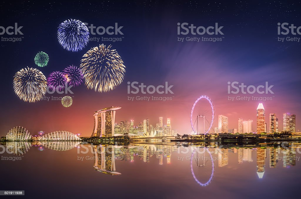 Fireworks in Marina Bay, Singapore Skyline stock photo