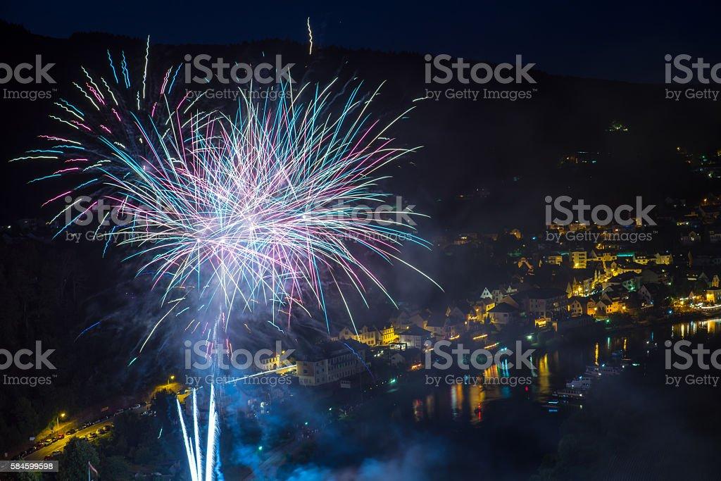 Fireworks in Neckarsteinach stock photo