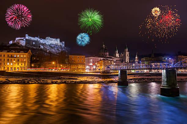 fireworks in salzburg austria - salzburg bildbanksfoton och bilder