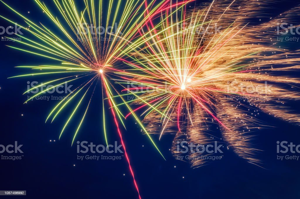 fireworks in the blue sky stock photo