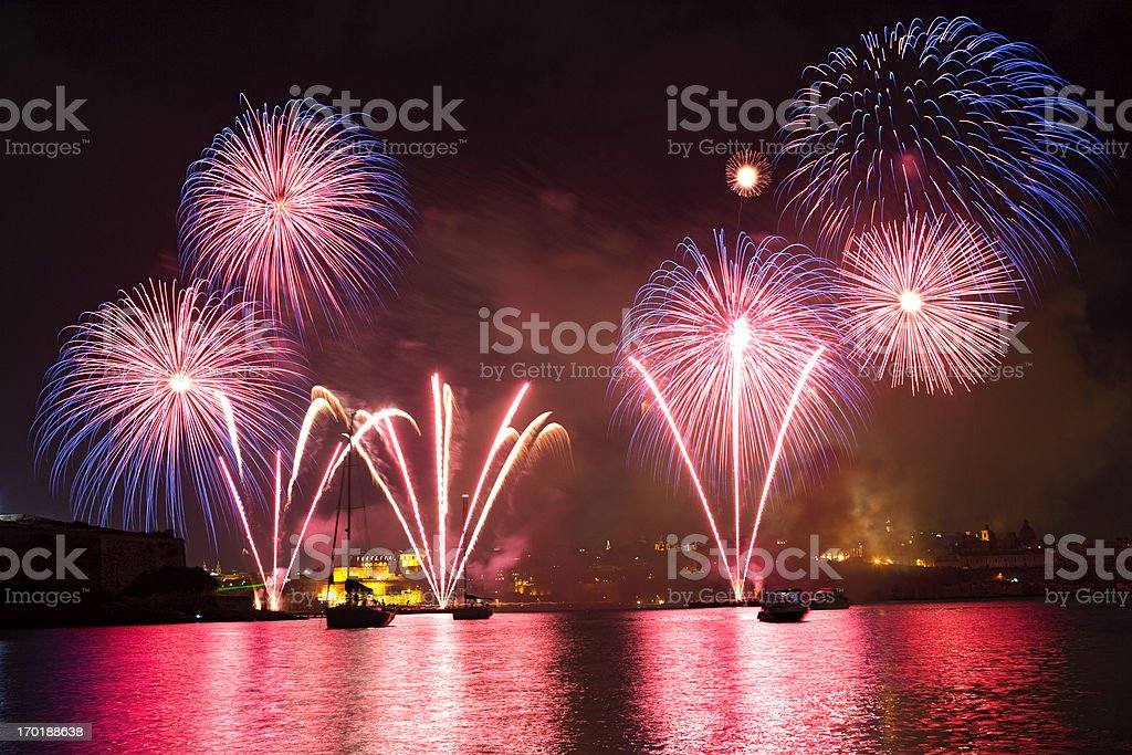 Fireworks in the Grand Harbour royalty-free stock photo