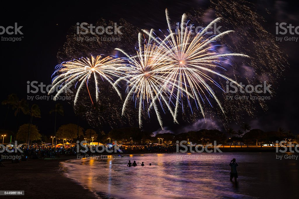 Fireworks in the night sky over Honolulu, Hawaii stock photo
