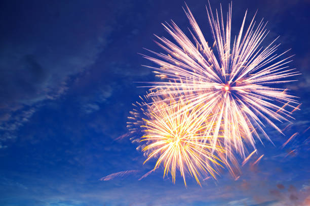 Fireworks in the sky, a festive show stock photo