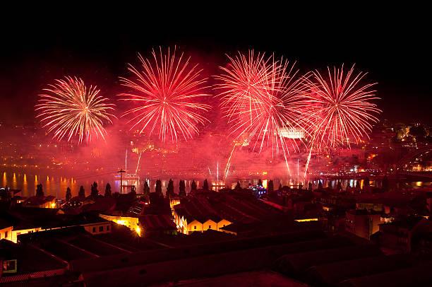 Fireworks in the St. John's Night stock photo