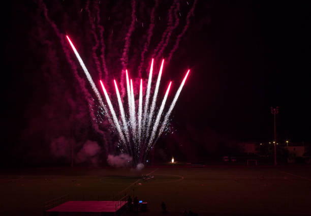 Fireworks in the Tuscan City of Lastra a Signa LASTRA A SIGNA, AUGUST 31 2015: Fireworks in the Tuscan City of Lastra a Signa, at the football field, for celebrating the end of the summer pyrotechnic effects stock pictures, royalty-free photos & images