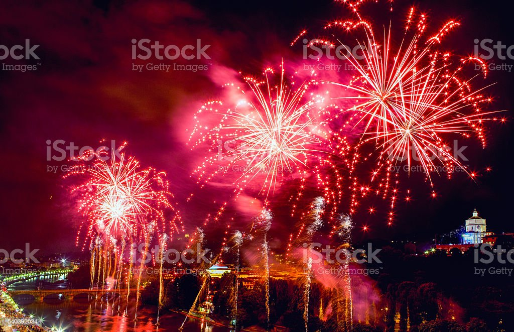 Fireworks in Turin stock photo