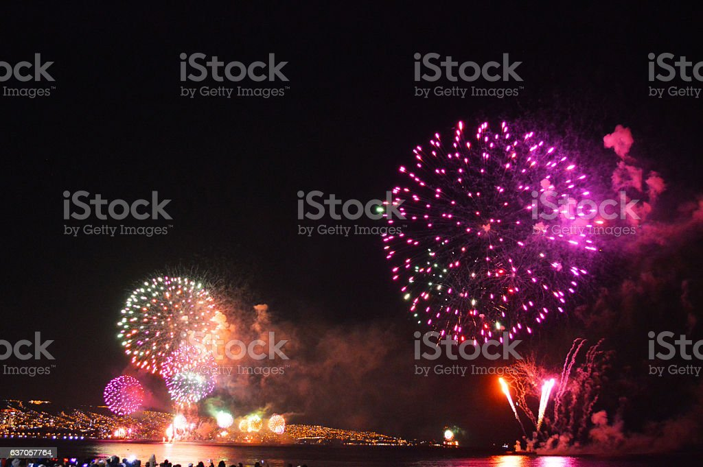 Fireworks in Valparaiso Chile stock photo