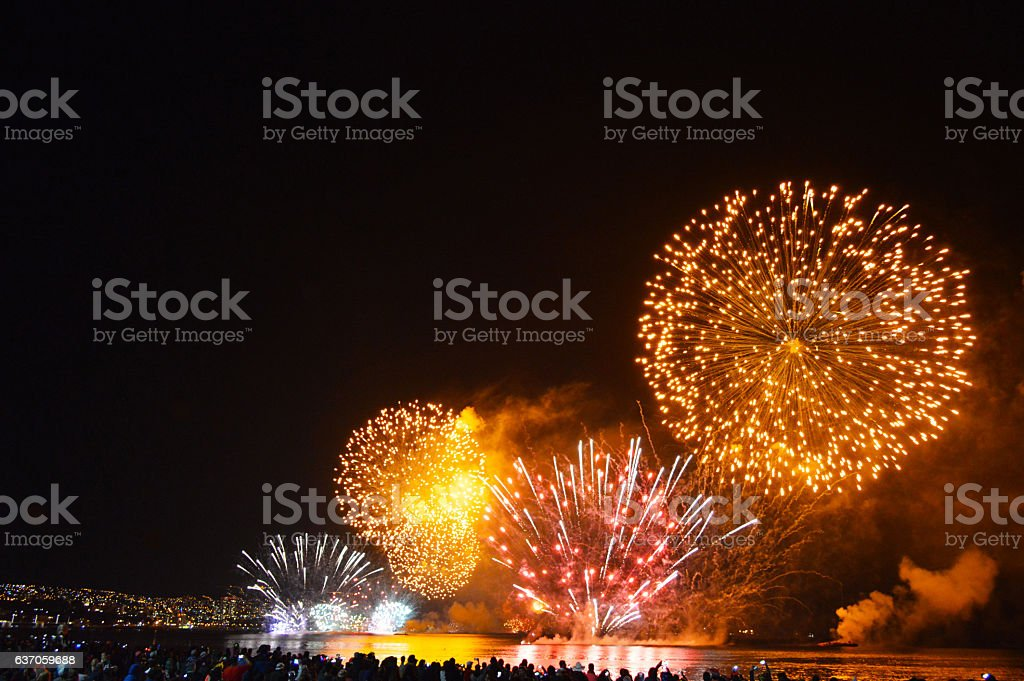 Fireworks in Valparaiso Chile royalty-free stock photo