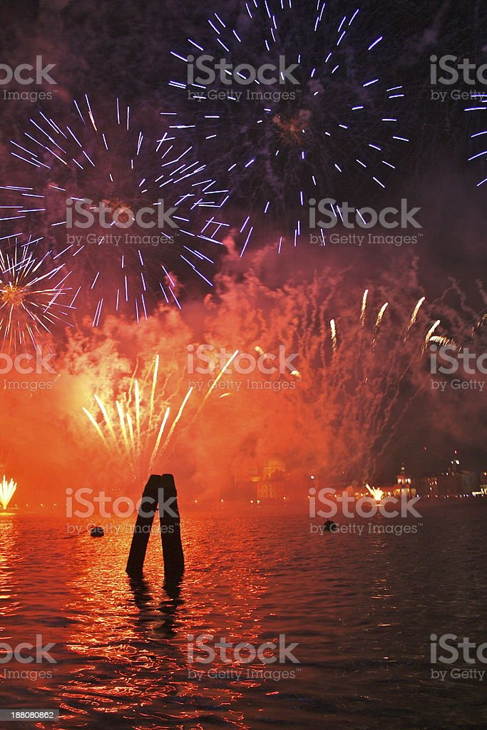 Fireworks in Venice stock photo
