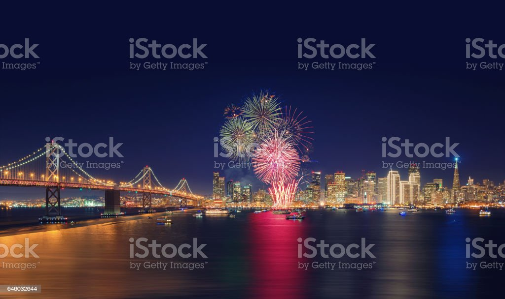 Fireworks' New Year in San Francisco, California, USA stock photo