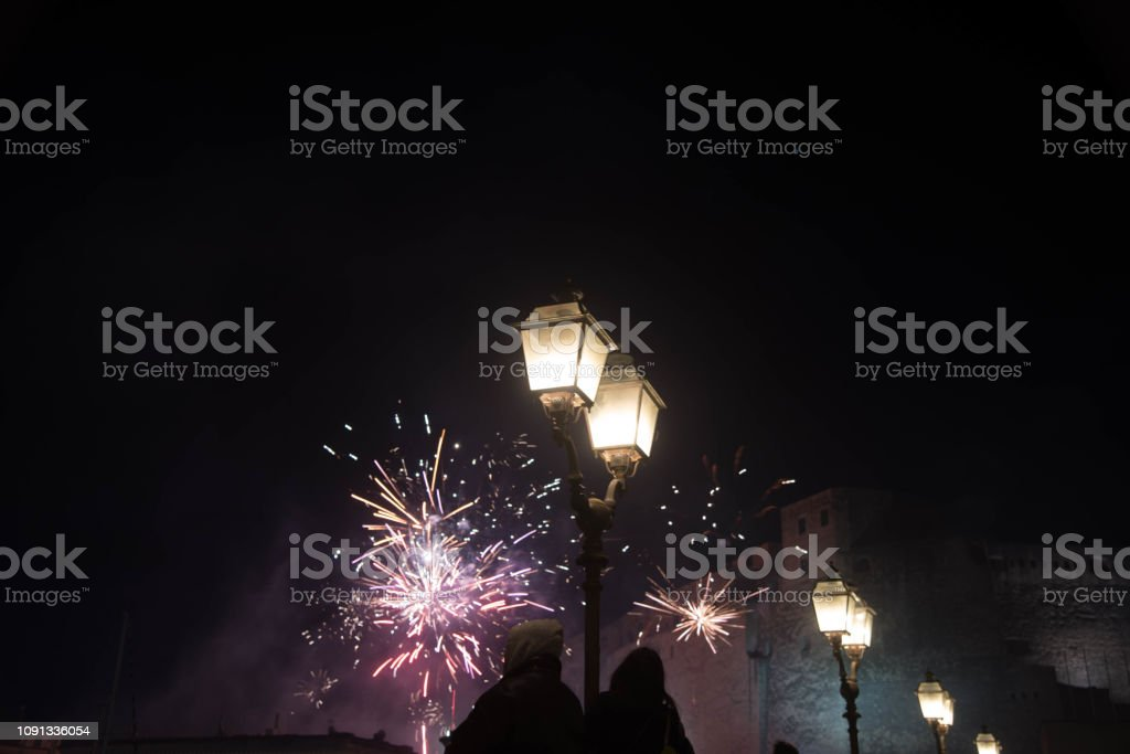 Fireworks of new year countdown stock photo