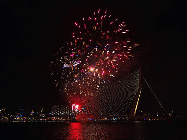Fireworks of the World Port Days in Rotterdam stock photo
