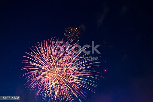 542714484 istock photo Fireworks of various colors bursting against a black 542714698