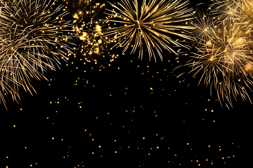 Fireworks On Black Background Stock Photo - Download Image Now