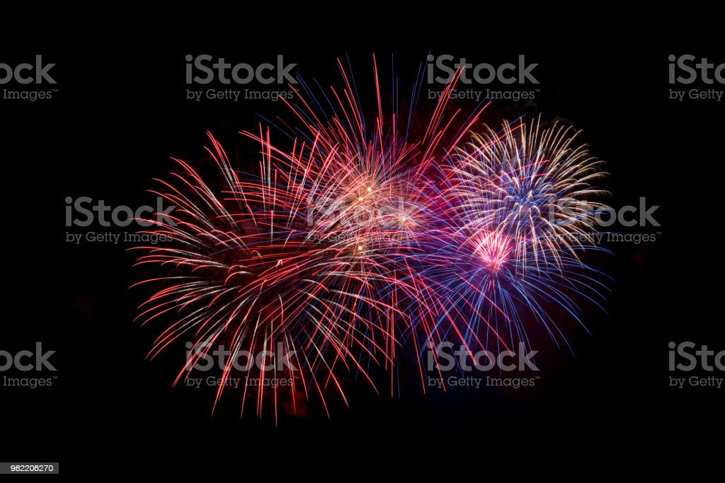 Fireworks on black sky. Fourth of July, Independence day An assortment of fireworks on a black sky. Fourth of July celebration Anniversary Stock Photo