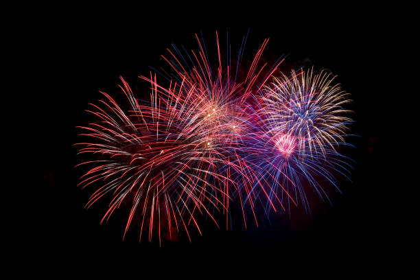 fireworks on black sky. fourth of july, independence day - firework display stock pictures, royalty-free photos & images