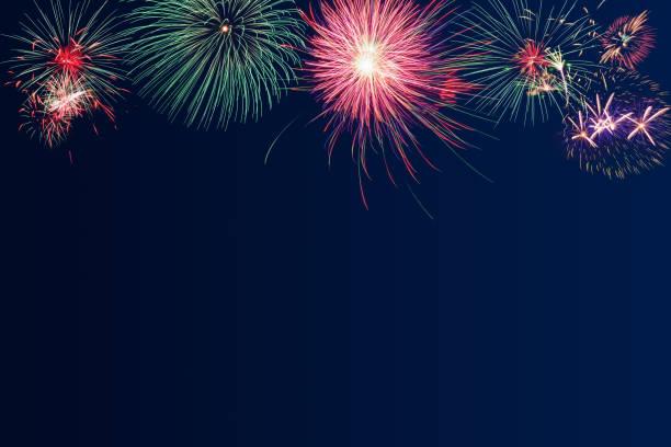 fireworks on blue twilight background for new year celebration, party, festival or special occasions with copy space - happy 4th of july zdjęcia i obrazy z banku zdjęć