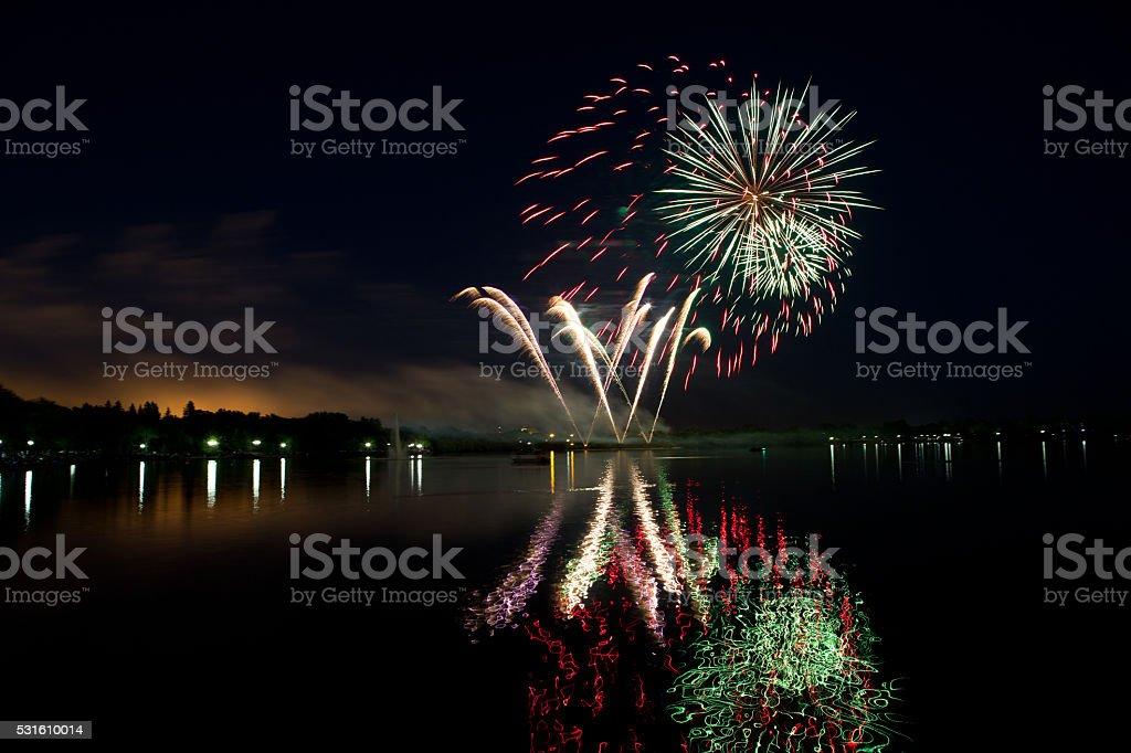 Fireworks on Canada Day at Wascana Lake in Regina stock photo