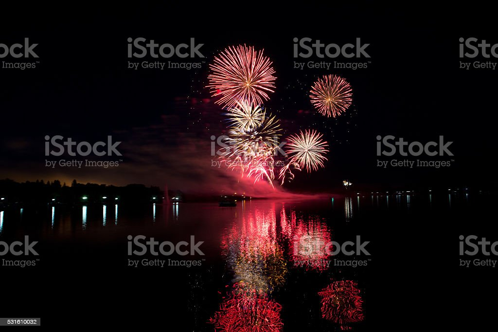 Fireworks on Canada Day at Wascana Lake in Regina stock photo