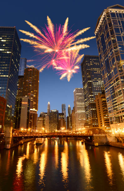 Fireworks on Chicago Skyline.