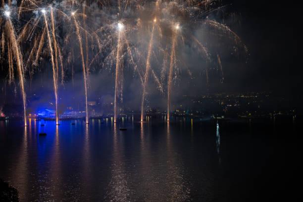 Fireworks on Lake Garda, in Riva del Garda (Italy). stock photo