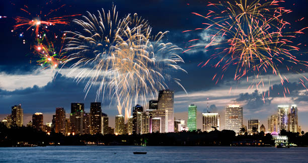 Fireworks on Miami Skyline.