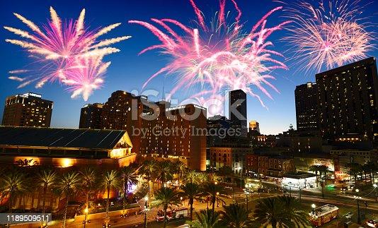 Fireworks on New Orleans Skyline.