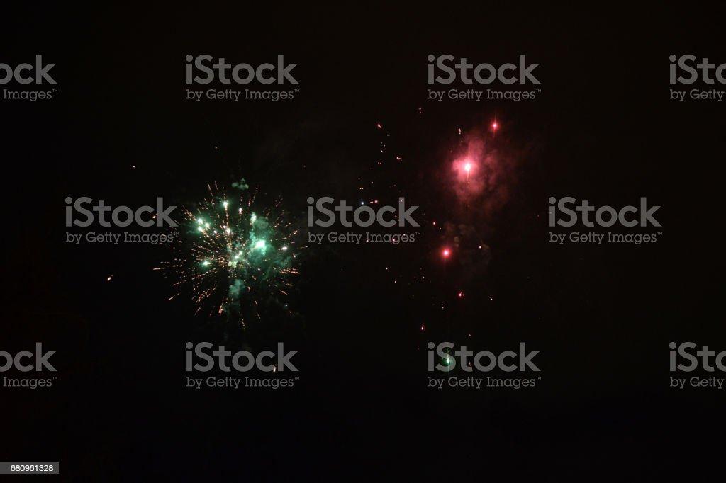 Fireworks on night sky royalty-free stock photo