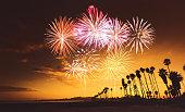fireworks on santa monica