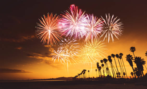 fireworks on santa monica stock photo