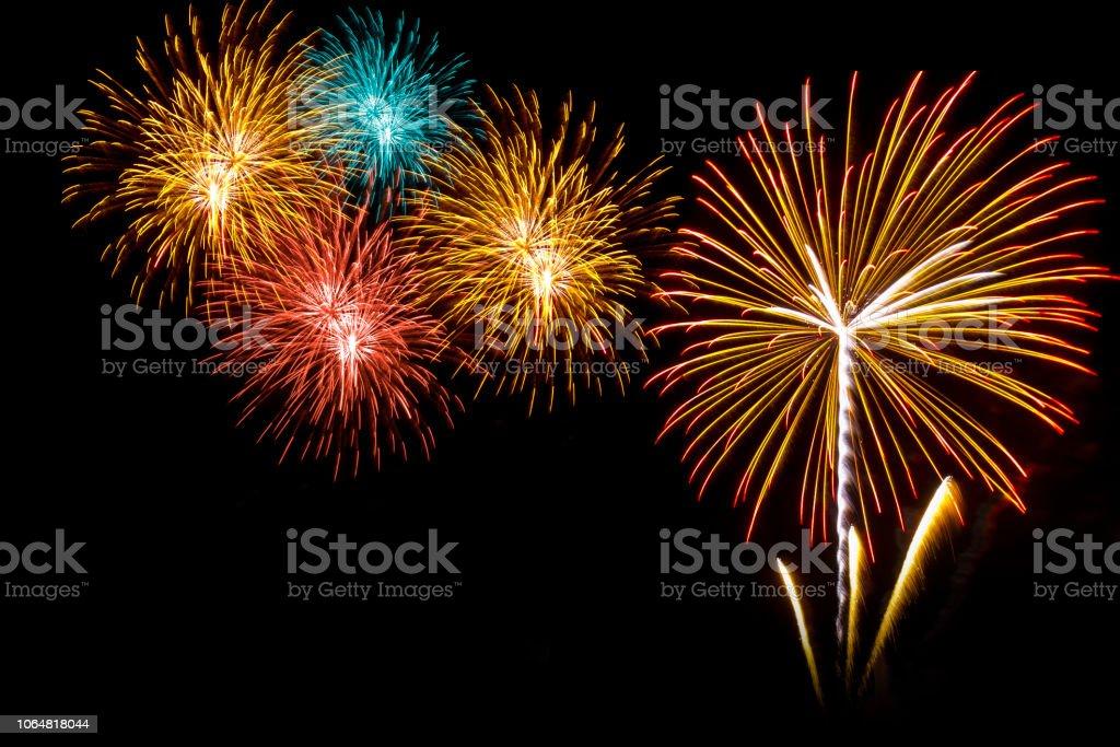 fireworks on the black sky background stock photo