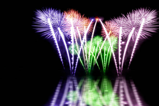 fireworks on the black sky background - fourth of july стоковые фото и изображения
