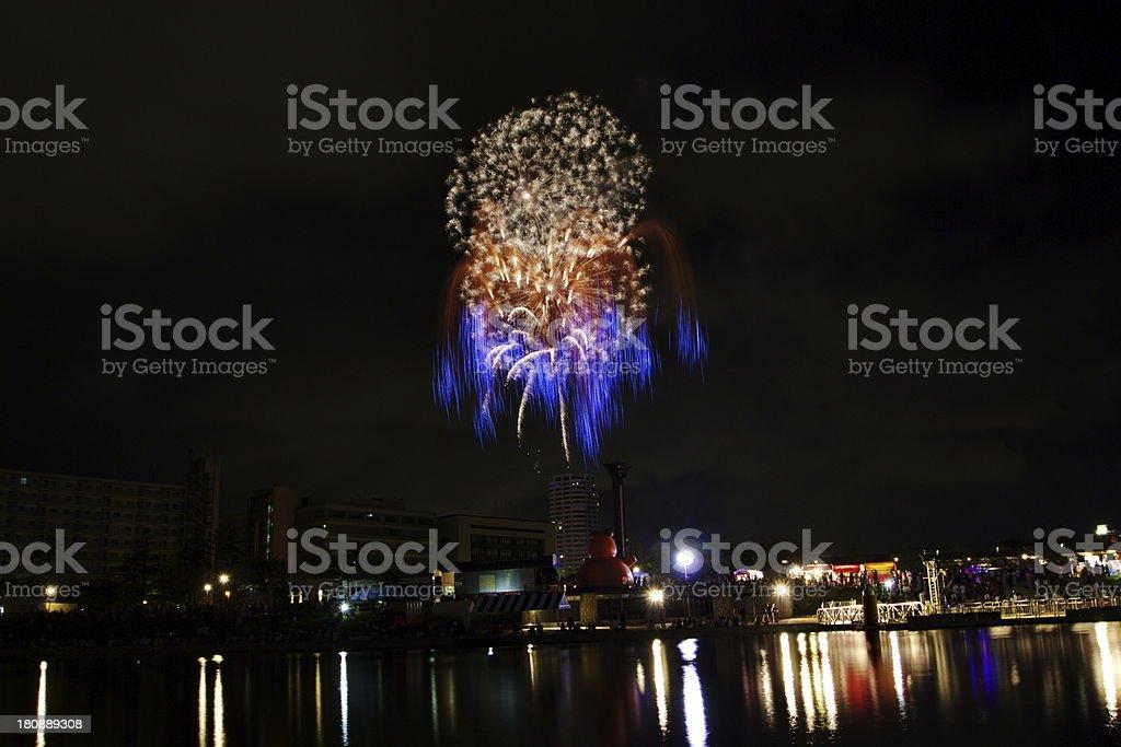 Fireworks on the bridge. royalty-free stock photo