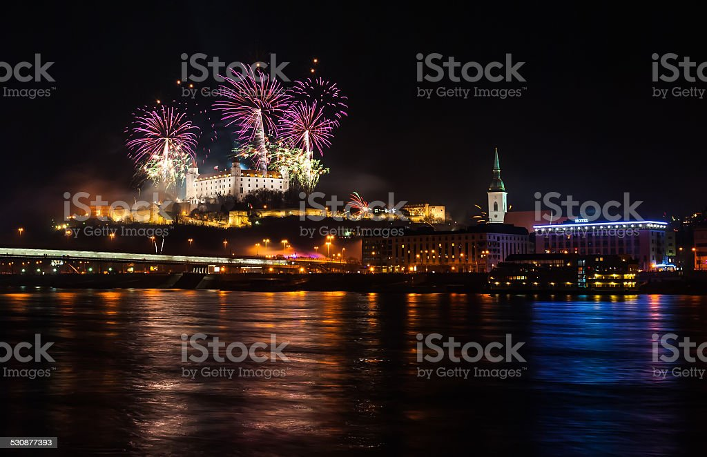Fireworks on the Castle stock photo