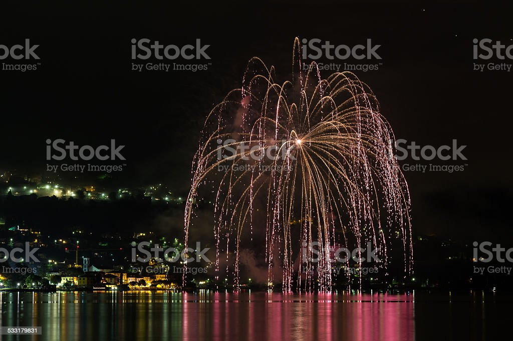 fireworks on the lake stock photo