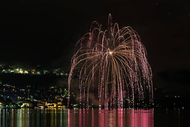 fireworks on the lake stock photo