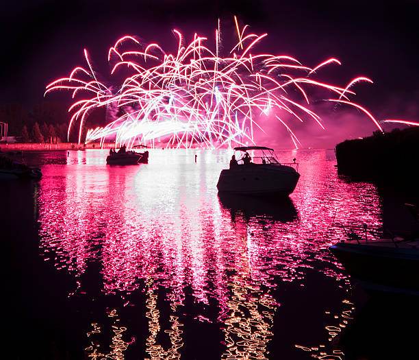 Fireworks On The River stock photo