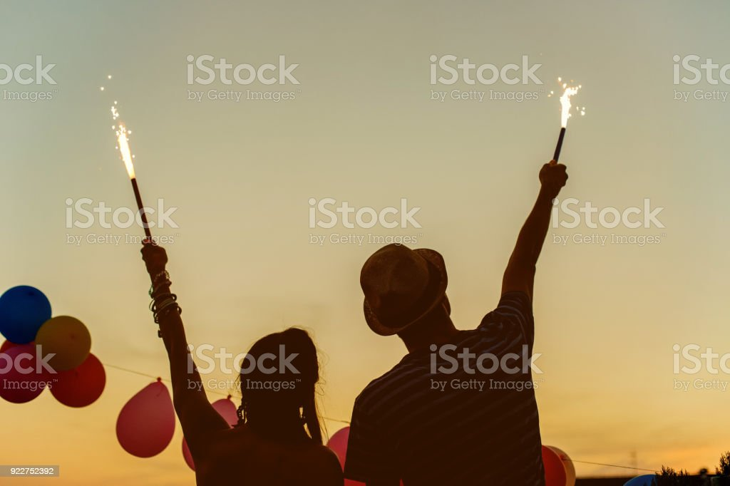 Fireworks on the rooftop stock photo