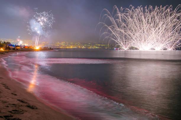fireworks on the sea – zdjęcie