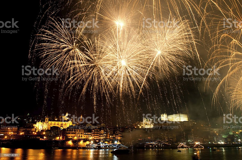 Fireworks on the St Johns Night royalty-free stock photo