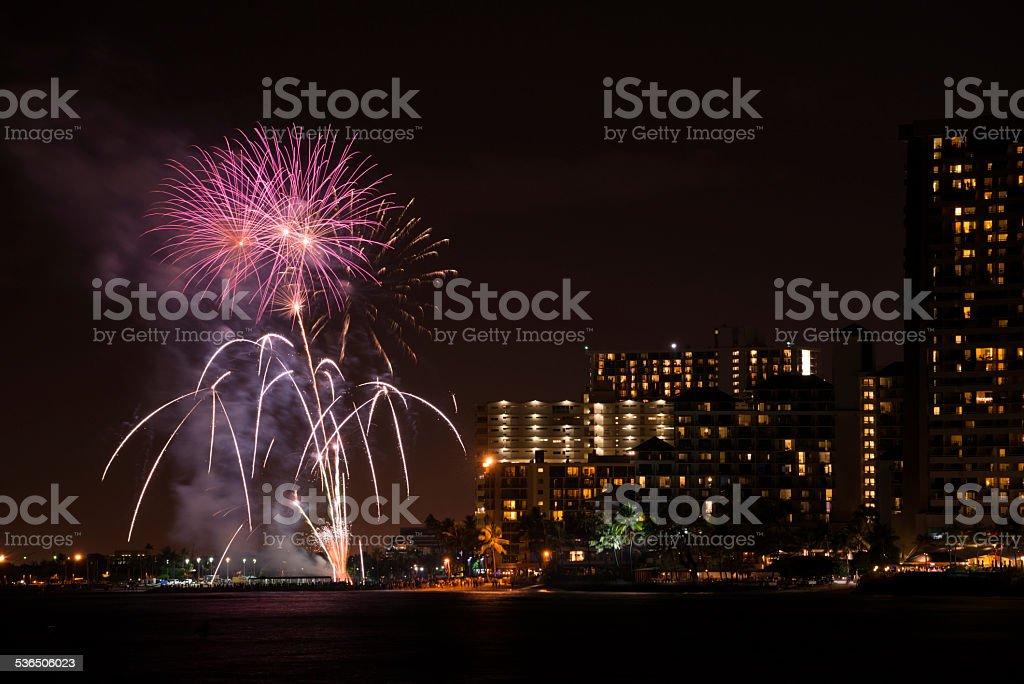 Fireworks On Waikiki Beach Stock Photo Download Image Now Istock