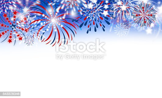 istock Fireworks on white background 543328346