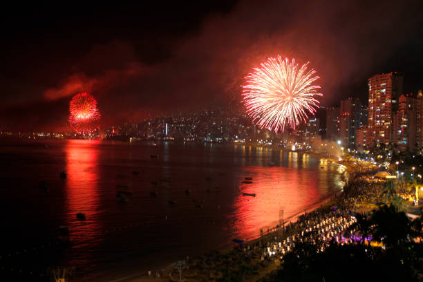 Fireworks over Acapulco Bay stock photo