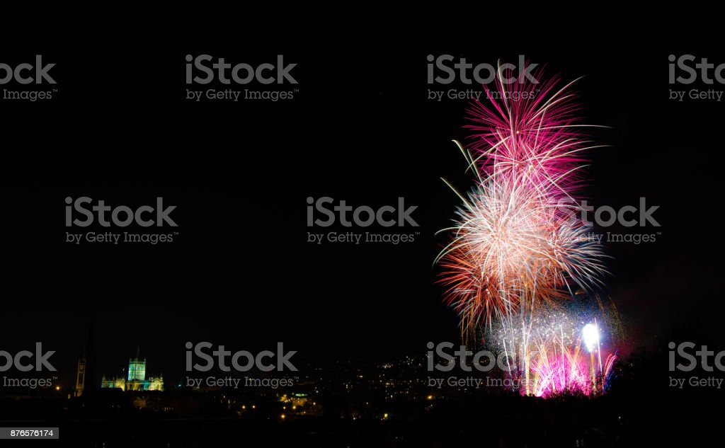 Fireworks over Bath, with Abbey stock photo