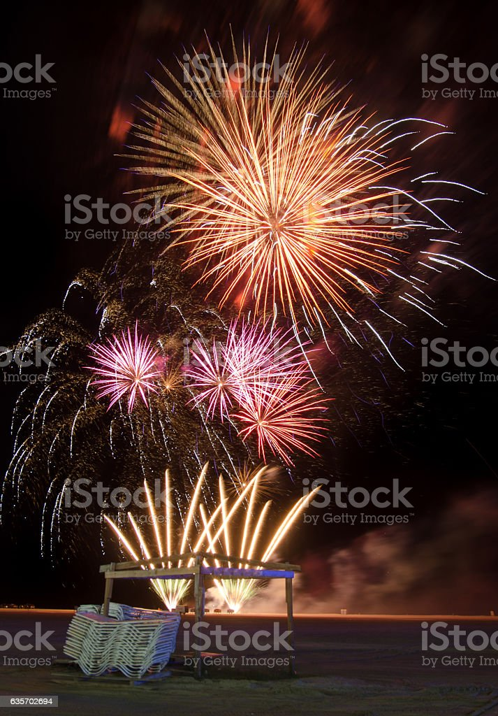 fireworks over beach on Independence day royalty-free stock photo